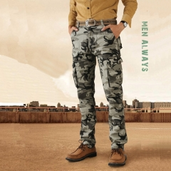 GustOmerD New Fashion Trend Men Overalls 100% Cotton Superior Quality Camouflage Military Trousers grey 38