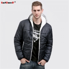 GustOmerD Brand Coat Men waterproof Casual Hoodied Patchwork Cotton Padding Men Clothing Jacket Men black white size S 50 to 58kg