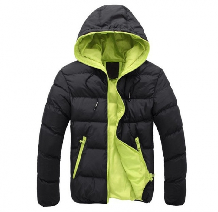 GustOmerD Brand Coat Men waterproof Casual Hoodied Patchwork Cotton Padding Men Clothing Jacket Men black green size S 50 to 58kg