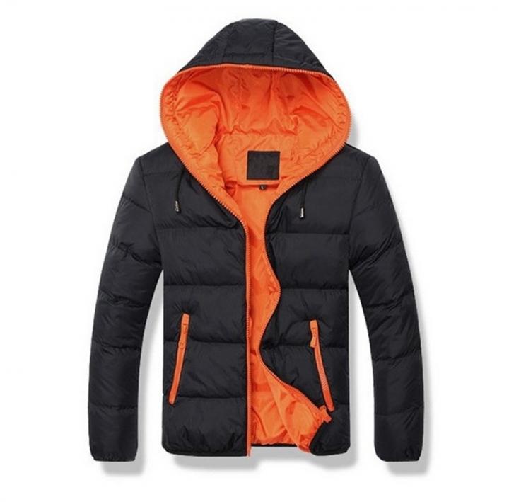 GustOmerD Brand Coat Men waterproof Casual Hoodied Patchwork Cotton Padding Men Clothing Jacket Men black orange size XXL80 to 88kg