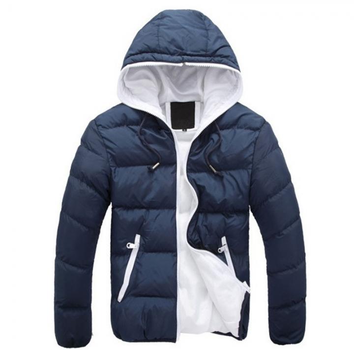 GustOmerD Brand Coat Men waterproof Casual Hoodied Patchwork Cotton Padding Men Clothing Jacket Men navy white size M 58 to 65kg