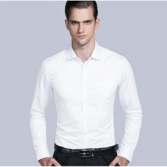 New Fashion Business Casual Men Shirt Long Sleeve Solid Color Slim Fit Shirt High-quality Shirts Men white twill 37