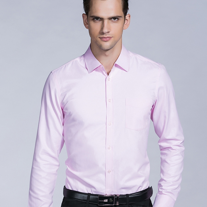77bc768b84e New Fashion Business Casual Men Shirt Long Sleeve Solid Color Slim Fit  Shirt High-quality