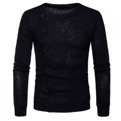 GustOmerD New Fashion Men's Fashion Slim Pblique Button Single Breasted Sweater black size s 50 to 58kg