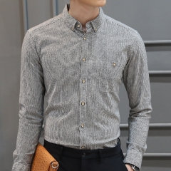 100% Cotton New Fashion Men Stripe Shirts Slim Fit Business Shirt Mens Casual Long Sleeve Shirts Dark grey size 4xl 88 to 95kg