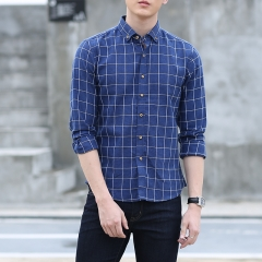 GustOmerD New Mens Plaid Shirts Men Slim Fit Long Sleeve Cotton Shirt Men sapphire size s 45 to 50kg