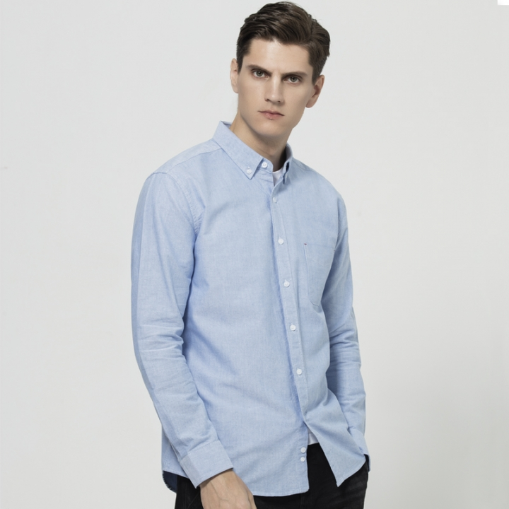 GustOmerD Shirt Men Casual 100% Cotton Oxford Shirts Long Sleeve Solid Color Slim Fit Shirt Men blue size s 45 to 50kg