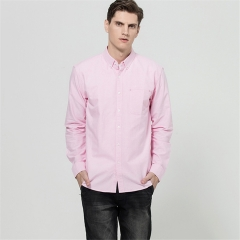 GustOmerD Shirt Men Casual 100% Cotton Oxford Shirts Long Sleeve Solid Color Slim Fit Shirt Men pink size 4xl 88 to 95kg