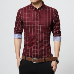 GustOmerD Men Clothes Slim Fit Men Long Sleeve Shirt Men Plaid Cotton Casual Men Shirt red size 5xl 95 to 102kg