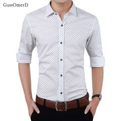 GustOmerD New Fashion Men Clothes Slim Fit Men Long Sleeve Shirt Men Polka Dot Casual Men Shirt white size m 50 to 58kg