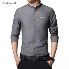 GustOmerD Casual Men Shirt Long Sleeve Mandarin Collar Slim Fit Shirt Men Business Mens Dress Shirts Dark grey size m 50 to 58kg