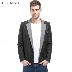GustOmerD Men Coat British Style Double-Breasted Stitching Dynamic Design Solid Color Men's Suit black size m 55 to 65kg