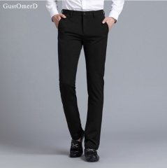 GustOmerD New Fashion Men Pants Business Suit Pants Slim Fit Brand-Clothing Casual Trousers Men black 29