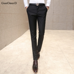 GustOmerD New Fashion Men's Suit Pants Men's Slim Business Straight Trousers Casual Trousers black 28