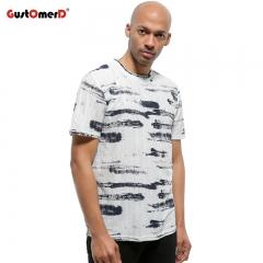 GustOmerD New Men Fashion Hole Design Hip Hop Letter Print T shirt Men Short Sleeve Casual T-shirts black size s 50 to 58kg