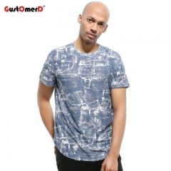 GustOmerD Cotton Casual T Shirt Men Fashion Harajuku Hole Design Hip Hop Printed Tshirt Men navy size xxl 80 to 90kg