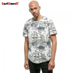 GustOmerD Camouflage Printed T-shirt Hip Hop Ripped Design Short Sleeve T Shirt Men Casual Top Tee green size s 50 to 58kg