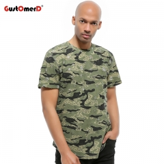 GustOmerD New Tshirt Ripped Design Hip Hop Camouflage Print Short Sleeve T shirt Men Casual T-shirts green size s 50 to 58kg