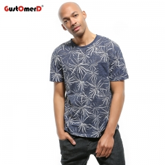 GustOmerD New 100% Cotton Men Short Sleeve Flower Printed Men Pocket Patchwork Casual T-shirts navy size s 50 to 58kg