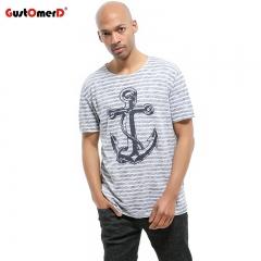 GustOmerD 100% Cotton T-shirt Hip Hop Anchor Printed Men T Shirt Short Sleeve Striped Casual Men blue size XXL 80 to 90kg