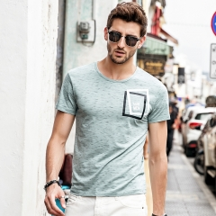 GustOmerD Short Sleeve T shirts Men Square Design Printed Fashion Tees O-Neck Slim Fit Clothing green size xxxl 80 to 88kg