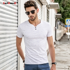 GustOmerD Men's t shirt men V-neck T Shirts Casual Short Sleeve Slim Fit Cotton tee shirt white size m 50 to 58kg cotton & spandex