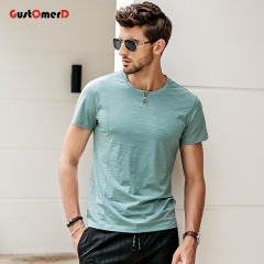 GustOmerD New Cotton T Shirt Men Solid Color Tshirt O Neck Short Sleeve Casual Slim Fit Top Tees green size l 58 to 65kg