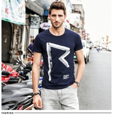 GustOmerD o-neck print Creative Hit Color casual short-sleeved t shirt men brand Slim Fit Tee navy size xl 65 to 72kg