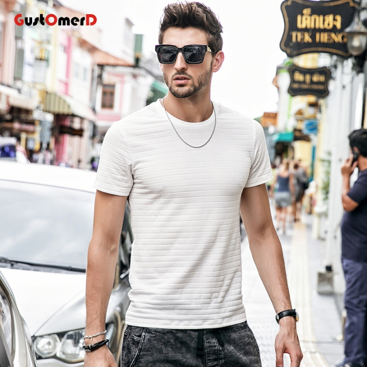 GustOmerD Stripe Fashion O Neck Short Sleeved Slim Fit White Striped T Shirt Man Casual Tops Tees white size l 58 to 65kg
