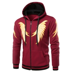 Fashion New Men's Clothes Sweatershirts Wing Design hoodies Men sweater Men's Jacket Coat wine red size m 45 to 52kg