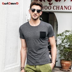 GustOmerD Solid Tshirt Pocket Design T-shirts O-Neck Slim Fit Fashion Harajuku Hot Tees Tops black size xxl 72 to 80kg