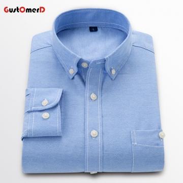 GustOmerD New Men Oxford Shirt Youth Fashion Slim Fit Shirt Brand Clothing Mens Business Shirt Male Lakeblue size 3xl 75 to 82kg
