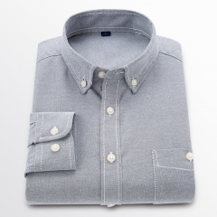GustOmerD New Men Oxford Shirt Youth Fashion Slim Fit Shirt Brand Clothing Mens Business Shirt Male grey size 4xl 82 to 90kg