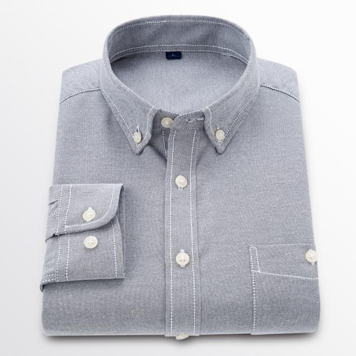 GustOmerD New Men Oxford Shirt Youth Fashion Slim Fit Shirt Brand Clothing Mens Business Shirt Male grey size 4xl 82 to 90kg