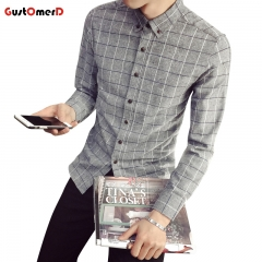GustOmerD new men's plaid shirt long sleeved youth Korean Slim Fit shirt dark grey size l 52 to 60kg