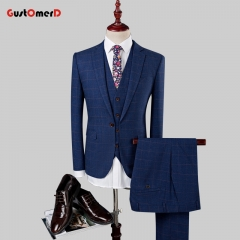 GustOmerD New Trend Suit Men Business Slim Fit Mens Brand Clothing Suits Office Gentleman Darkblue 165/80A
