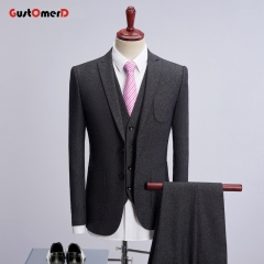 GustOmerD Men Suit New Plaid Fabric Business Mens Suits Slim Fit Blazers darkgrey 165/80A