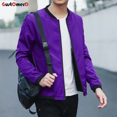 GustOmerD New Fashion New Mens Sunscreen Coat Casual Mens Sunscreen Jacket Coat Purple blue size m 50 to 58kg