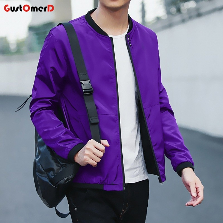 2018 New Fashion New Mens Sunscreen Coat Casual Mens Sunscreen Jacket Coat Purple blue size m 50 to 58kg