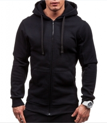 New Sweatshirt Zip Hooded Sweatshirt Jacket Men's Solid Color Cardigan Hoodies Black size m 50 to 58kg