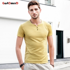 GustOmerD Stripe O Neck Short Sleeved Slim Fit Solid Striped T Shirt Man Casual Male Tops Tees yellow size m 50 to 58kg