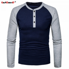 GustOmerD New Fashion Brand Men Long Sleeve T-shirts Patchwork T shirt Men Casual Mens T-shirts navy size XXL 80 to 88kg cotton