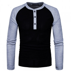 GustOmerD New Fashion Brand Men Long Sleeve T-shirts Patchwork T shirt Men Casual Mens T-shirts black size S 50 to 58kg polyester