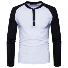GustOmerD New Fashion Brand Men Long Sleeve T-shirts Patchwork T shirt Men Casual Mens T-shirts white size XXL 80 to 88kg polyester