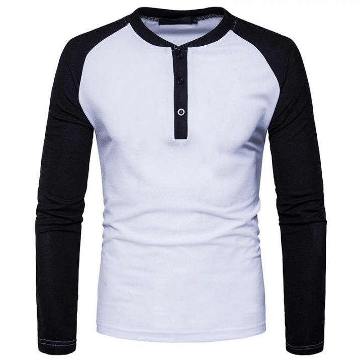 GustOmerD New Fashion Brand Men Long Sleeve T-shirts Patchwork T shirt Men Casual Mens T-shirts white size L 65 to 72kg cotton