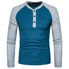 GustOmerD New Fashion Brand Men Long Sleeve T-shirts Patchwork T shirt Men Casual Mens T-shirts blue size S 50 to 58kg polyester
