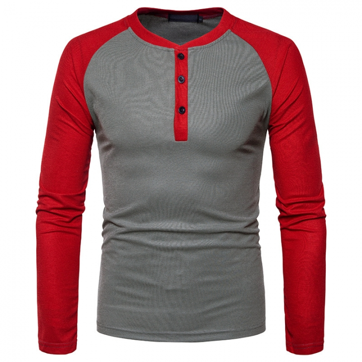 GustOmerD New Fashion Brand Men Long Sleeve T-shirts Patchwork T shirt Men Casual Mens T-shirts gray size S 50 to 58kg polyester