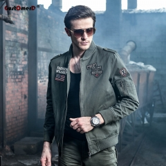 GustOmerD New Men Military Army jackets Appliques Embroidery Mens Jacket Cotton Casual Men Coats army green size xl 65 to 72kg