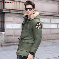 GustOmerD Fashion Multi-pocket Long Coat Men Fur Collar Thicken Parka Jacket Men Casual Overcoat army green size l 65 to 72kg