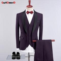 GustOmerD Men Suit New Plaid Fabric Business Mens Suits Slim Fit Blazers brand Male Wedding dress Darkpurple 195/104A(4XL)